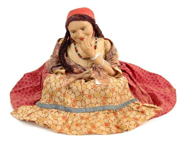 615: Russian tea cozy doll, cloth with molded cloth fac