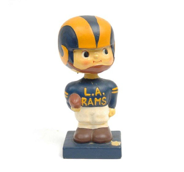 "721: Los Angeles Rams football nodder, 6"" high, blue an"