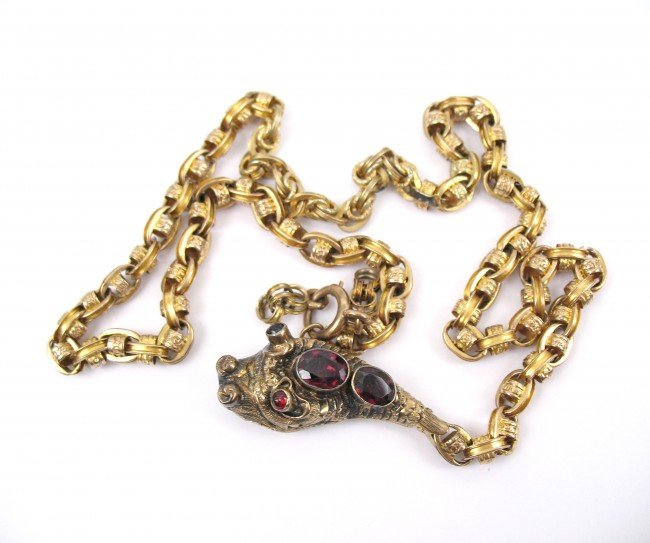 376: Victorian 14k gold and garnet dragon head necklace