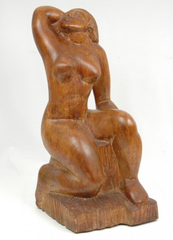 506: Clara Nathanson wooden sculpture of a female nude,