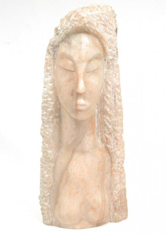 "508: Clara Nathanson marble bust of a woman, 15 1/2"" hi"