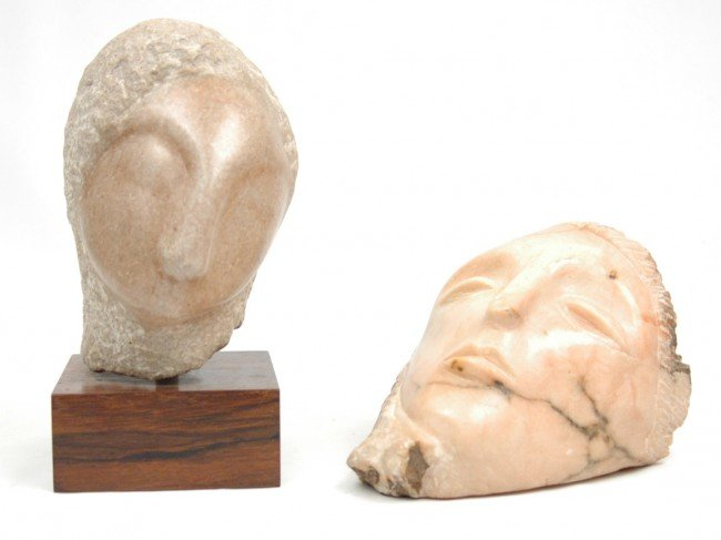 509: Clara Nathanson, two marble sculptures, each depic