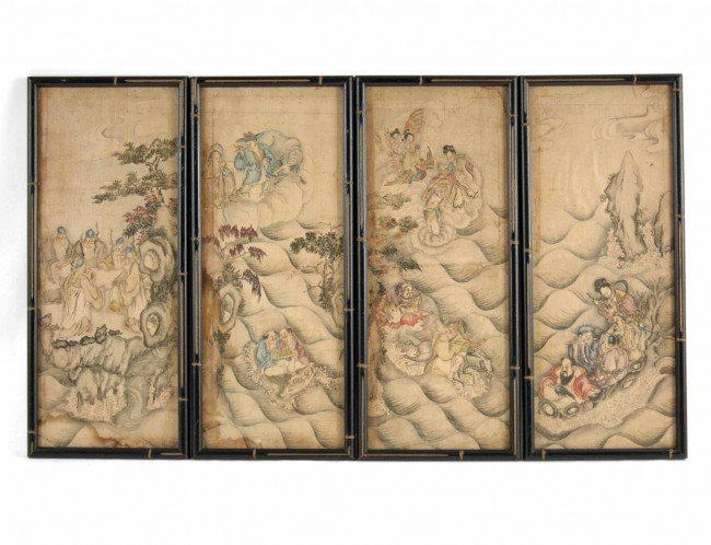 516: Japanese School, oil on linen, figures in landscap
