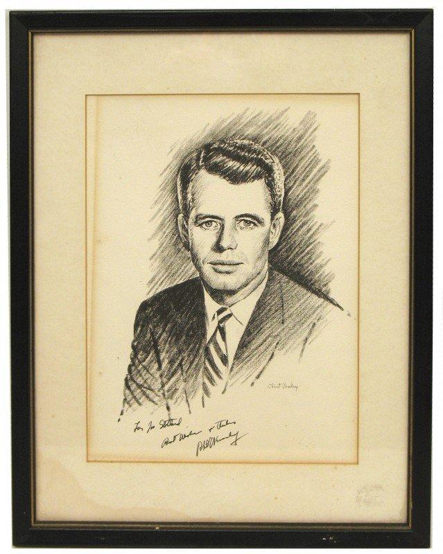520: Clint Bradley signed print of Robert F. Kennedy, i
