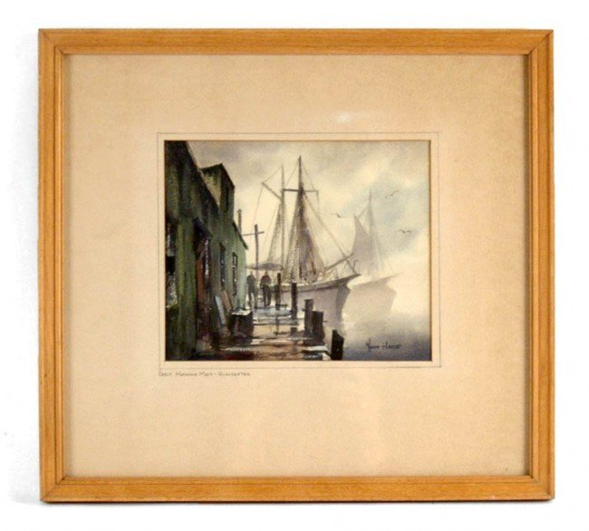 "523: John (Cuthbert) Hare watercolor ""Early Morning Mis"