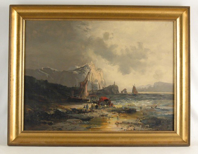 533: S. Gardiner oil on canvas, ships beached after sto