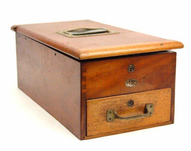687: Wooden cash box, brass lock and cash slot, no key,