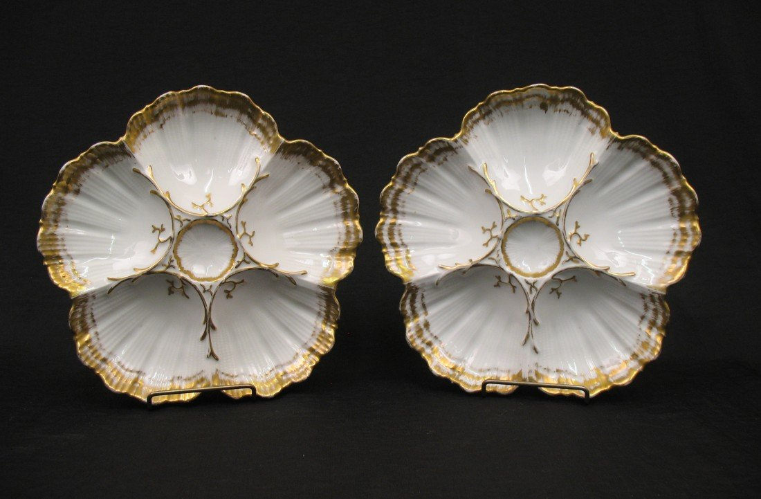 1: Pair of Limoges porcelain oyster plates, scalloped g