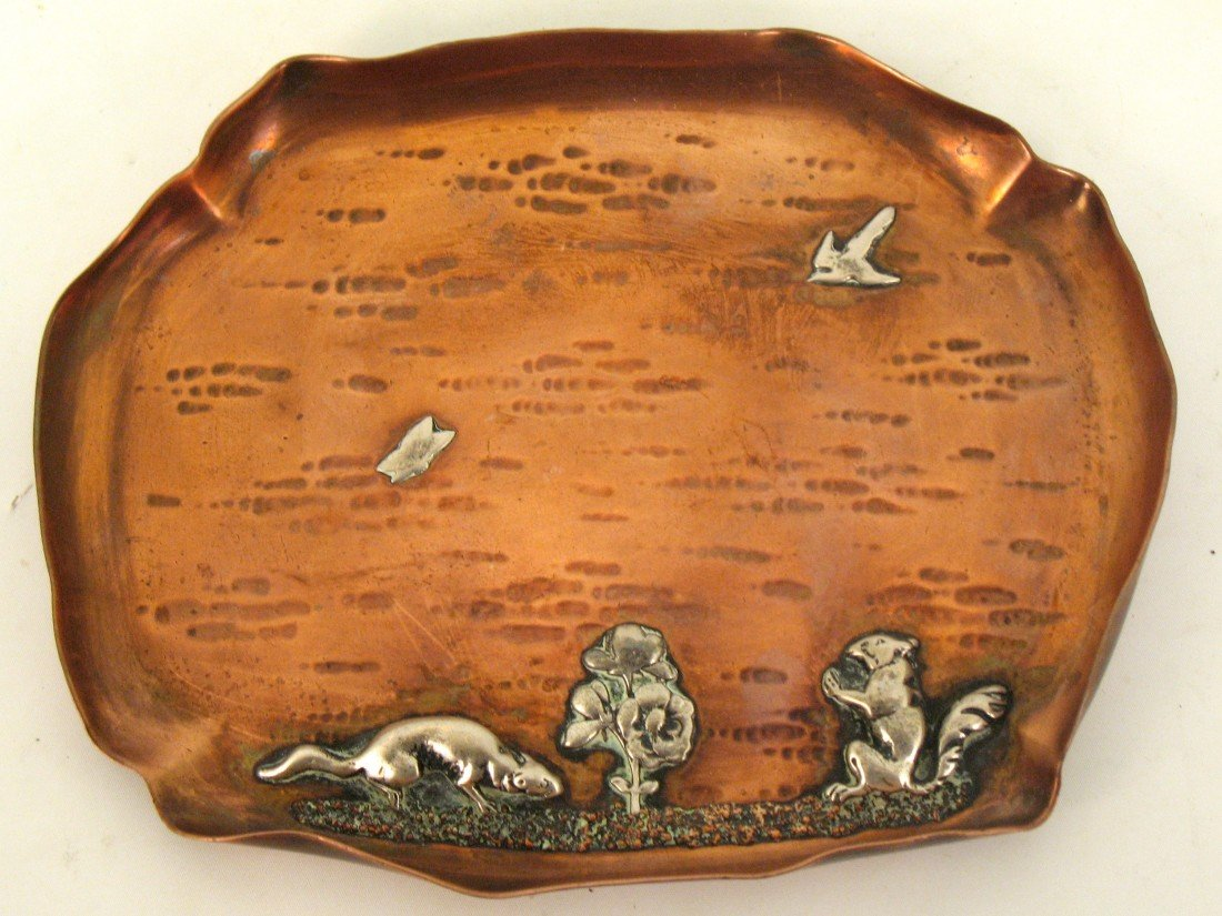 4: Gorham Company mixed metals tray in copper and sterl