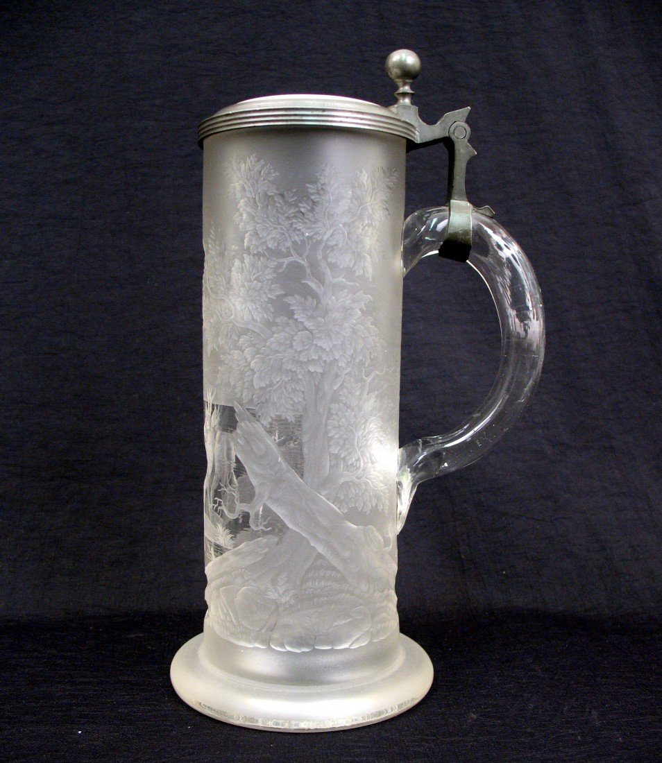 10: Bohemian engraved glass stein depicting deer in for