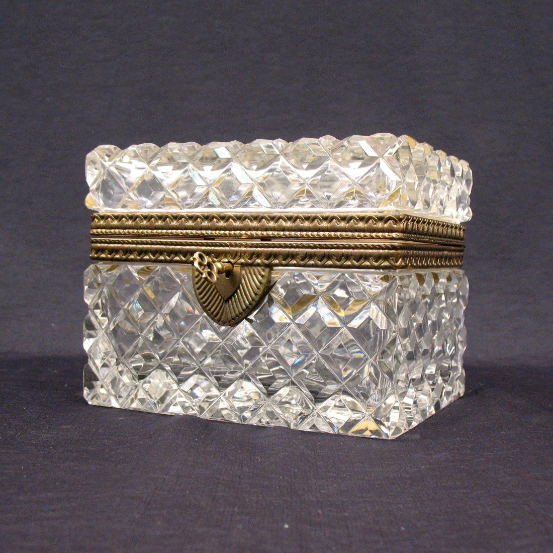 16: Lead crystal and bronze mounted dresser casket, dia