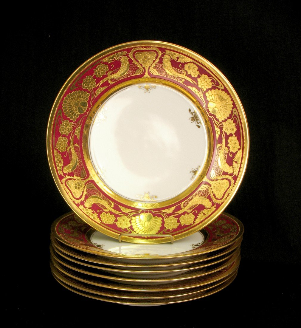 17: Set of ten Dresden cabinet plates, red banded rim
