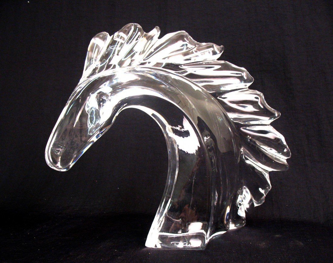 18: Daum France crystal horse head, signed on front bot