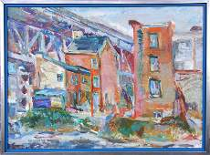 285 Charles Frith oil on canvas street with old hou
