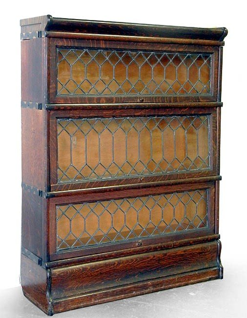 "329: Oak and leaded glass barrister's bookcase ""Macey S"