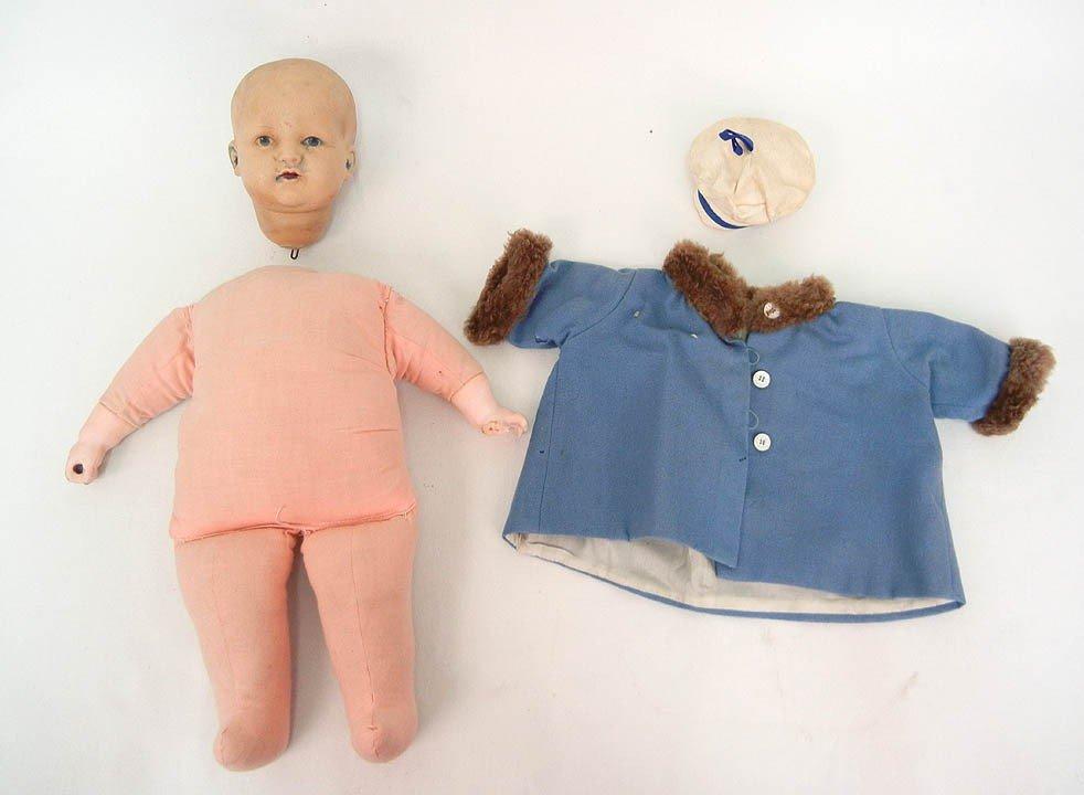 """601: K * R rubber head doll, 16"""", cloth body, compo han"""