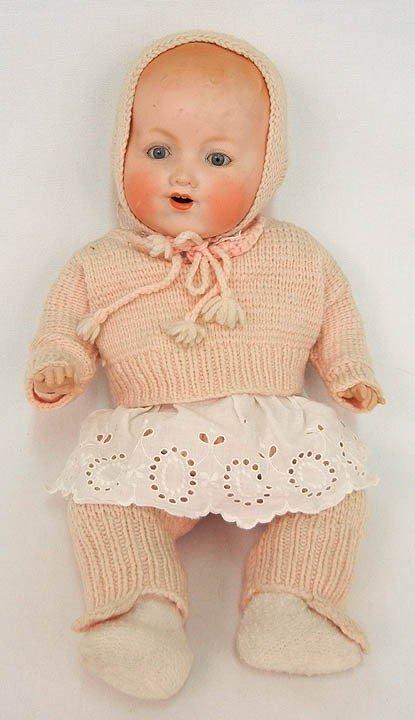 "602: Armand Marseille bisque head baby doll, 15"", reddi"