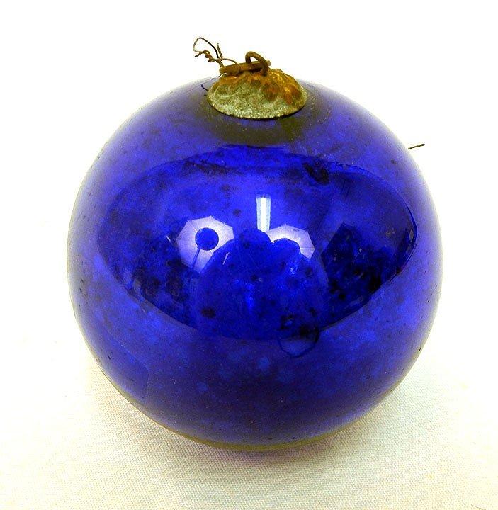 "604: Round cobalt glass kugel, 3 1/2"" diameter"