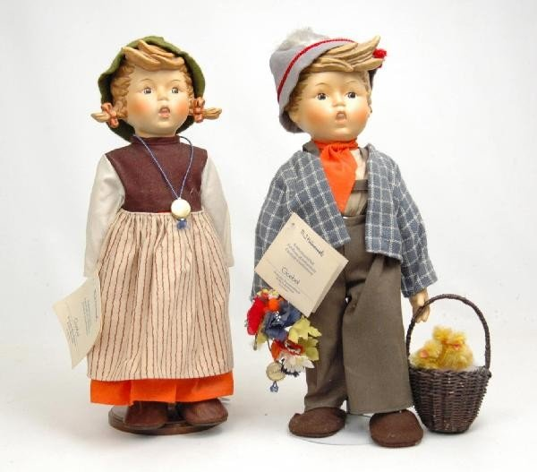 """606: Two porcelain Hummel dolls, 14"""", with certificates"""