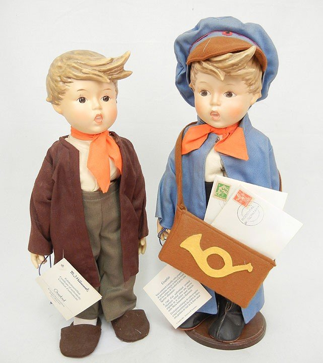 """607: Two porcelain Hummel dolls, 15"""", with certificates"""