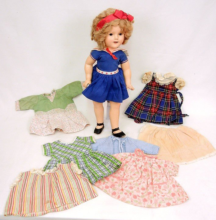 """611: Ideal composition Shirley Temple doll, 19"""", with s"""