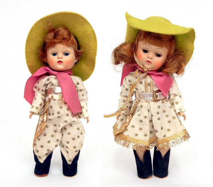 """623: Pair of Ginny Rodeo dolls, boy and girl, 8"""",  all"""