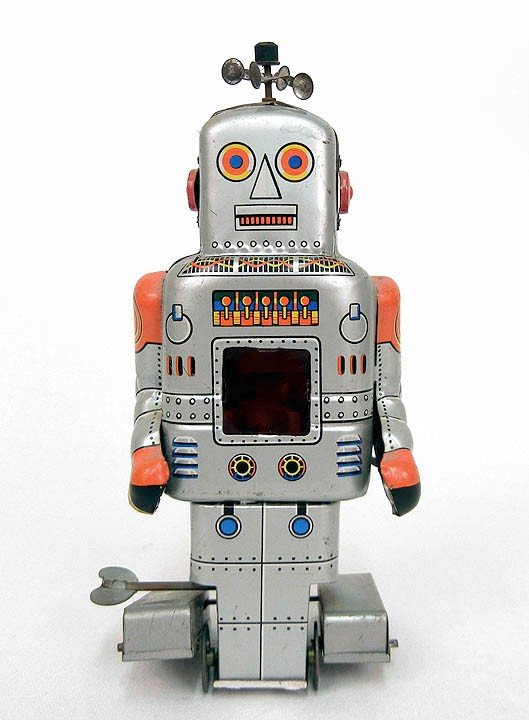 749: S.Y. tin Robot with Spark, mechanical walking, 7 1