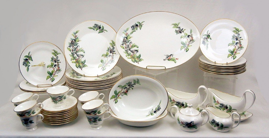 """1: Set of Boehm """"Chickadees and Holly"""" bone porcelain d"""