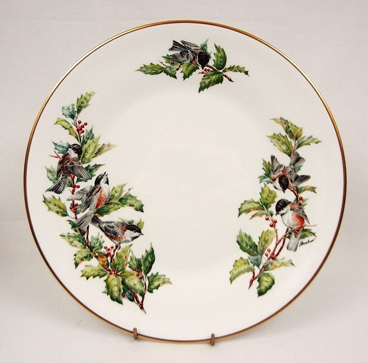 """1: Set of Boehm """"Chickadees and Holly"""" bone porcelain d - 2"""