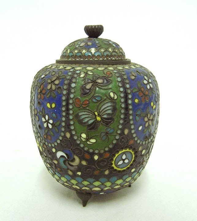 5: Cloisonne covered jar, floral and foliate and butter