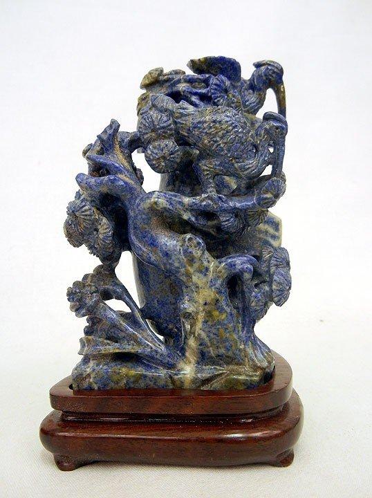 13: Chinese lapis lazuli covered urn depicting cranes i