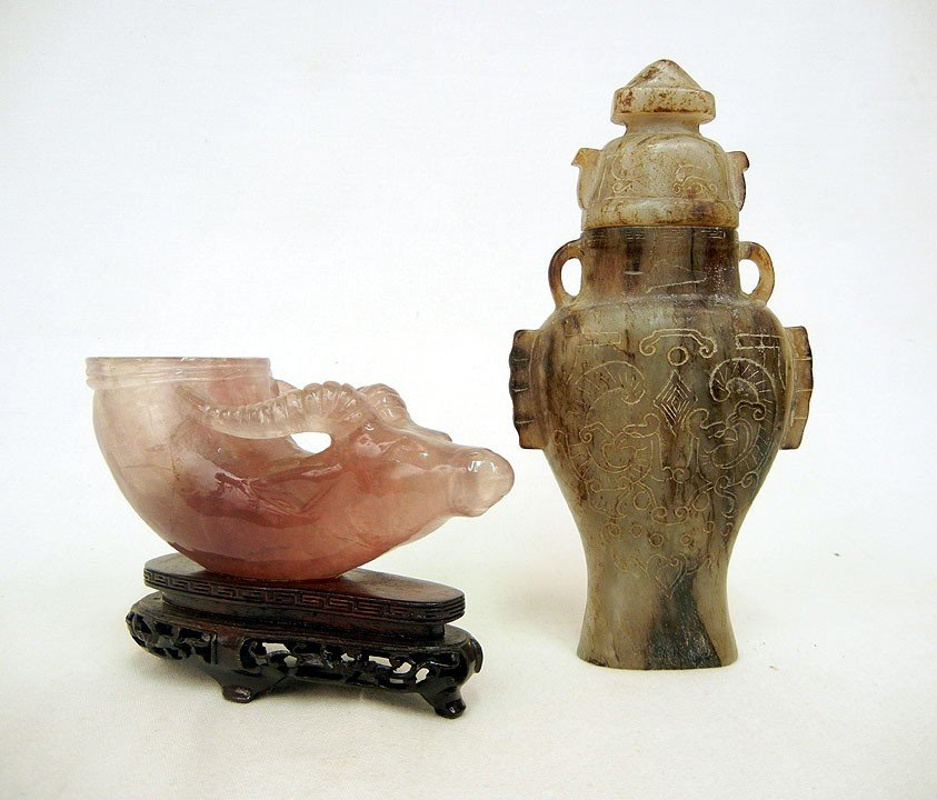 15: Carved amethyst ceremonial cup and carved stone urn