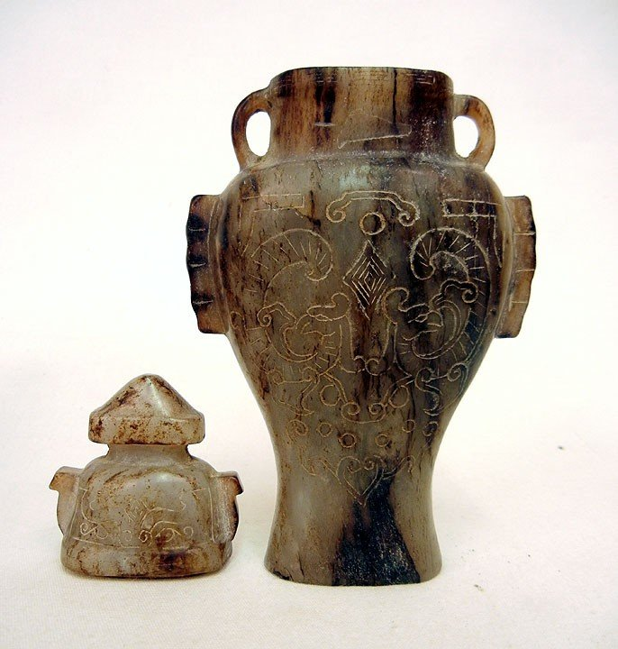 15: Carved amethyst ceremonial cup and carved stone urn - 2