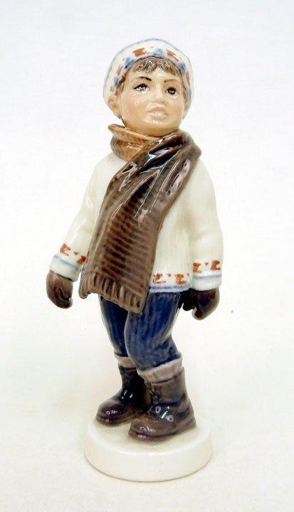 "19: Dahl Jensen porcelain figurine ""Boy in Winter Cloth"