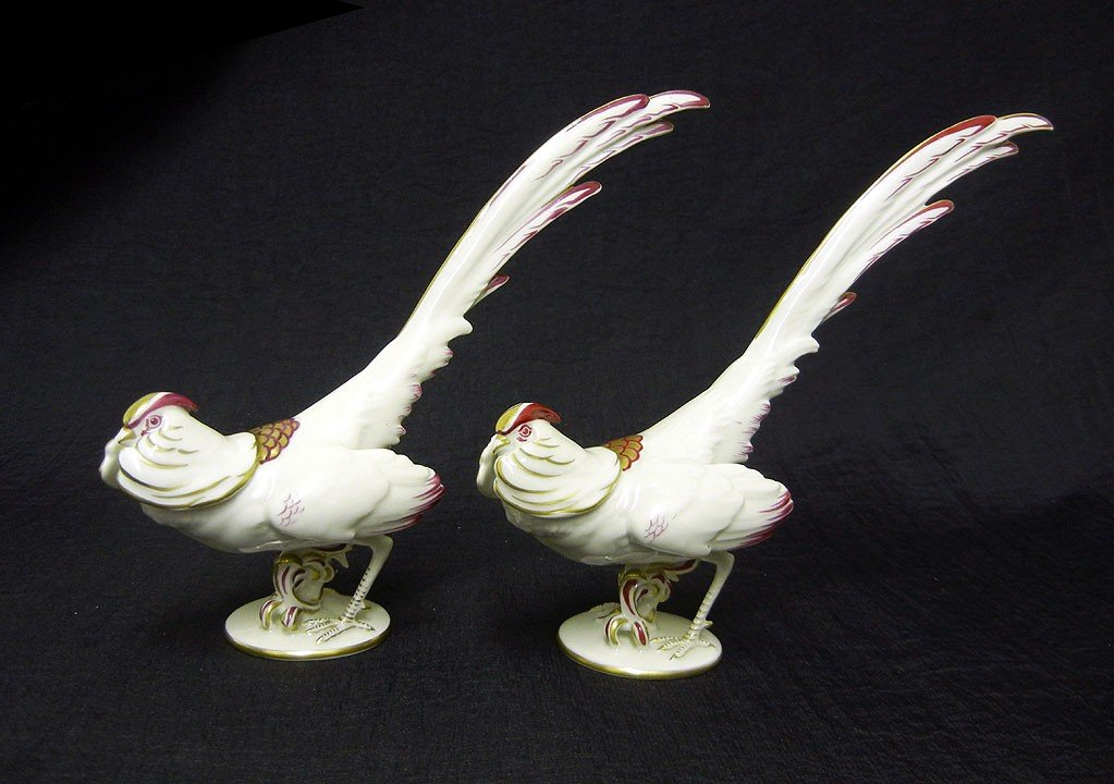 20: Pair of Austrian porcelain pheasants, overglaze mar