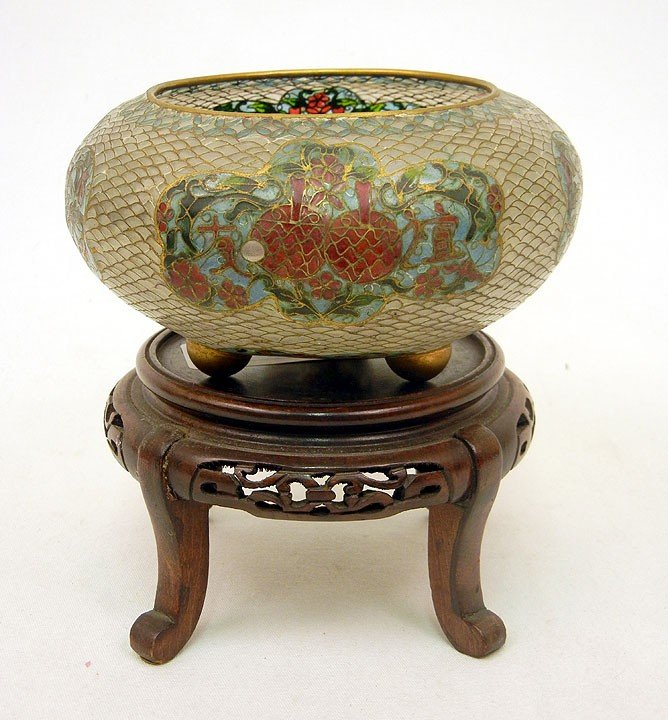 21: Plique a jour enameled footed bowl, with wooden sta