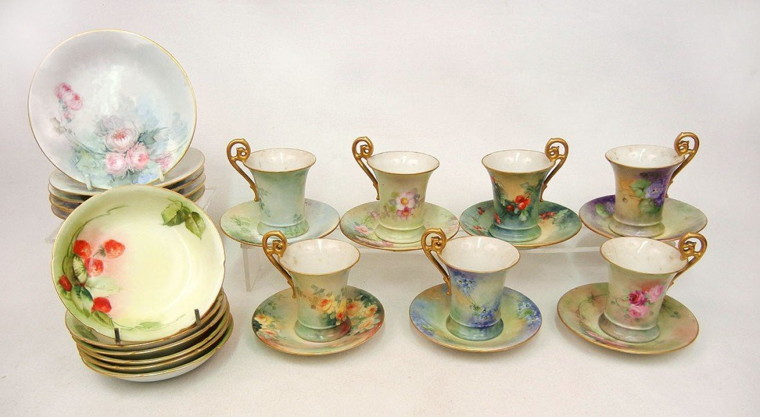 22: Grouping of hand painted china with floral and berr