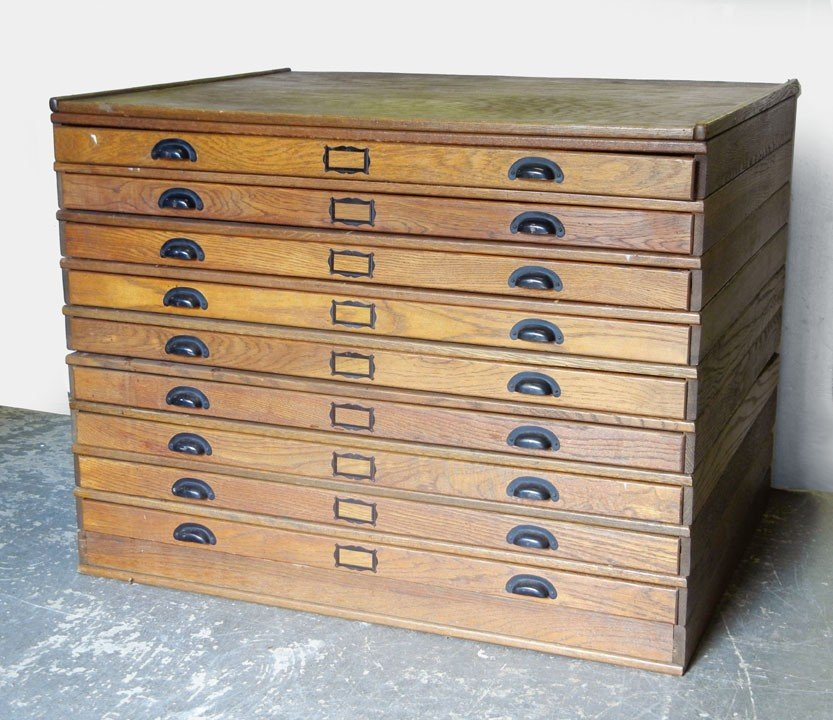 small cabinet 425 oak map cabinet nine stacking drawers on base c 26308