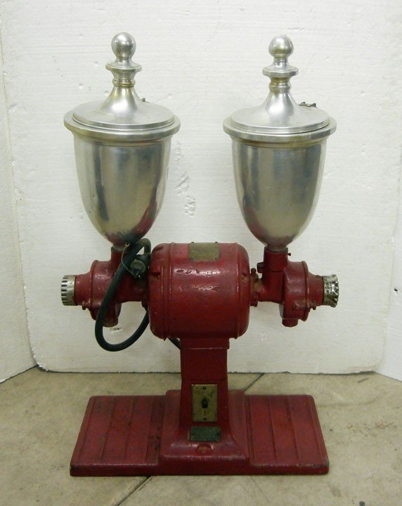 472: Vintage Hobart electric double coffee grinder with