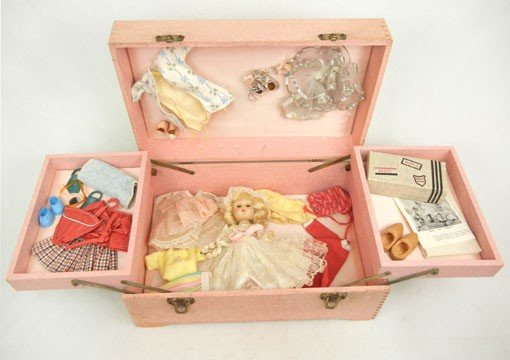 11A: Vogue Ginny rare 1956-57 bridal trousseau trunk ,