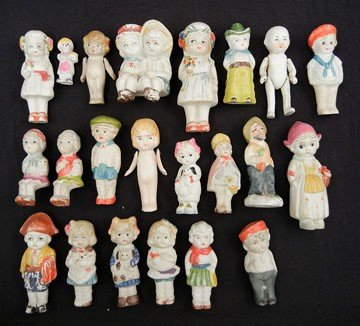 13A: Grouping of twenty-two all bisque dolls