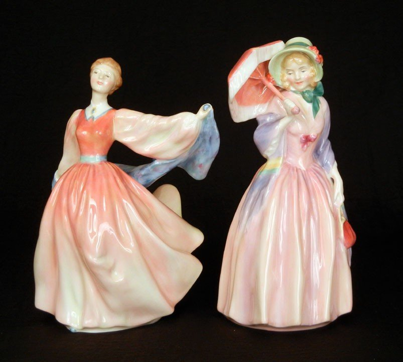 """5: Two Royal Doulton figurines """"Miss Demure"""" HN 1402, 7"""