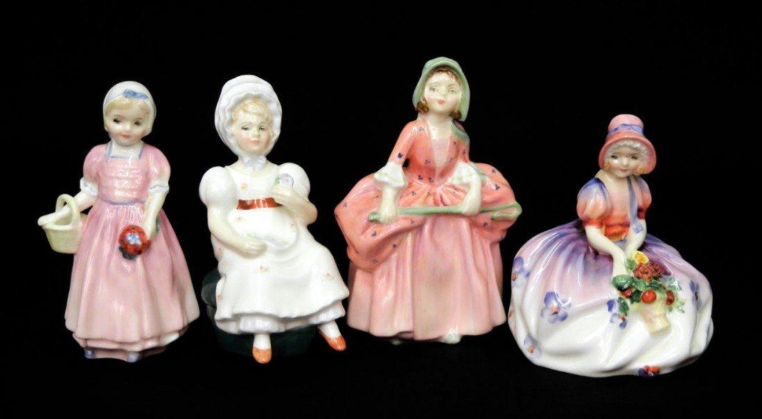 "17: Four Royal Doulton figurines including ""Bo-Peep"" HN"