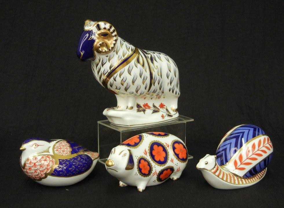 "23: Four Royal Crown Derby Imari figurines snail 2 1/2"""