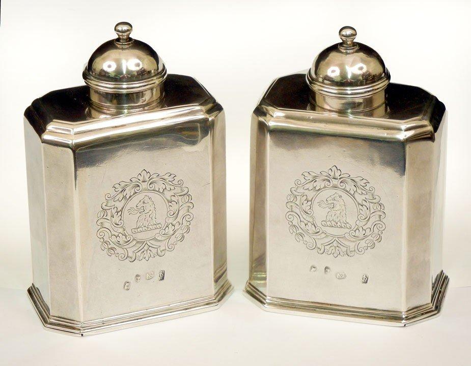 101: Pair of Britannia standard Queen Anne silver tea c