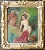 326: Heller Andoz? oil on canvas allegorical scene, nud