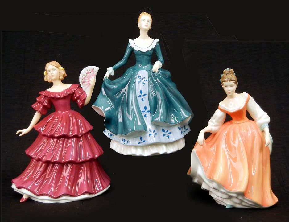 "23: Three Royal Doulton figurines, ""Janine""  HN 5164, 7"