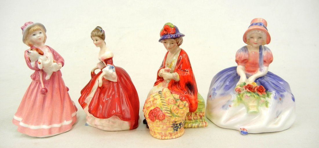 "38: Four Royal Doulton figurines ""All A Blooming"" Minia"