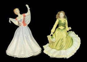 "Two Royal Doulton Figurines ""June"" HN 2991, 9"", C."