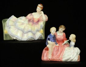 "Two Royal Doulton Figurines ""The Bedtime Story"" HN"